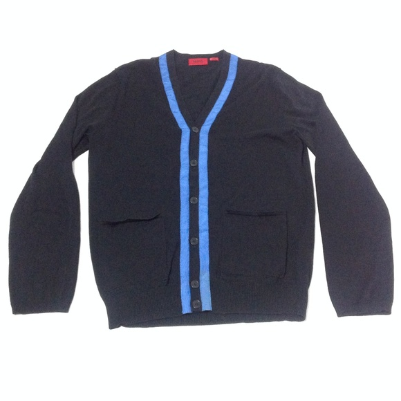 5543ba56c Hugo Boss Sweaters | Mens Cotton Cardigan Black Blue Size L | Poshmark